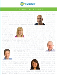 2012 Cerner Annual Report Cover_employees with text in background
