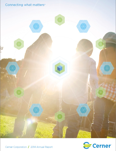 2014 Cerner Annual Report Cover_kids outside sunburst and icons around it