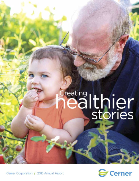 2017 Cerner Annual Report Cover_grandpa with granddaughter plants