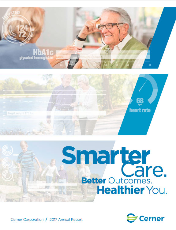 2017 Cerner Annual Report Cover_nurse taking blood pressure and older couple walking and kids with grandparents
