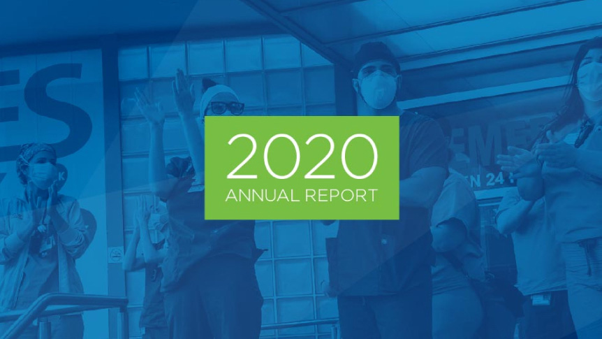 Cerner 2020 Annual Report_healthcare workers clapping blue overlay