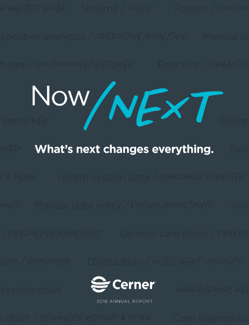 2018 Cerner Annual Report_Now Next dark grey cover