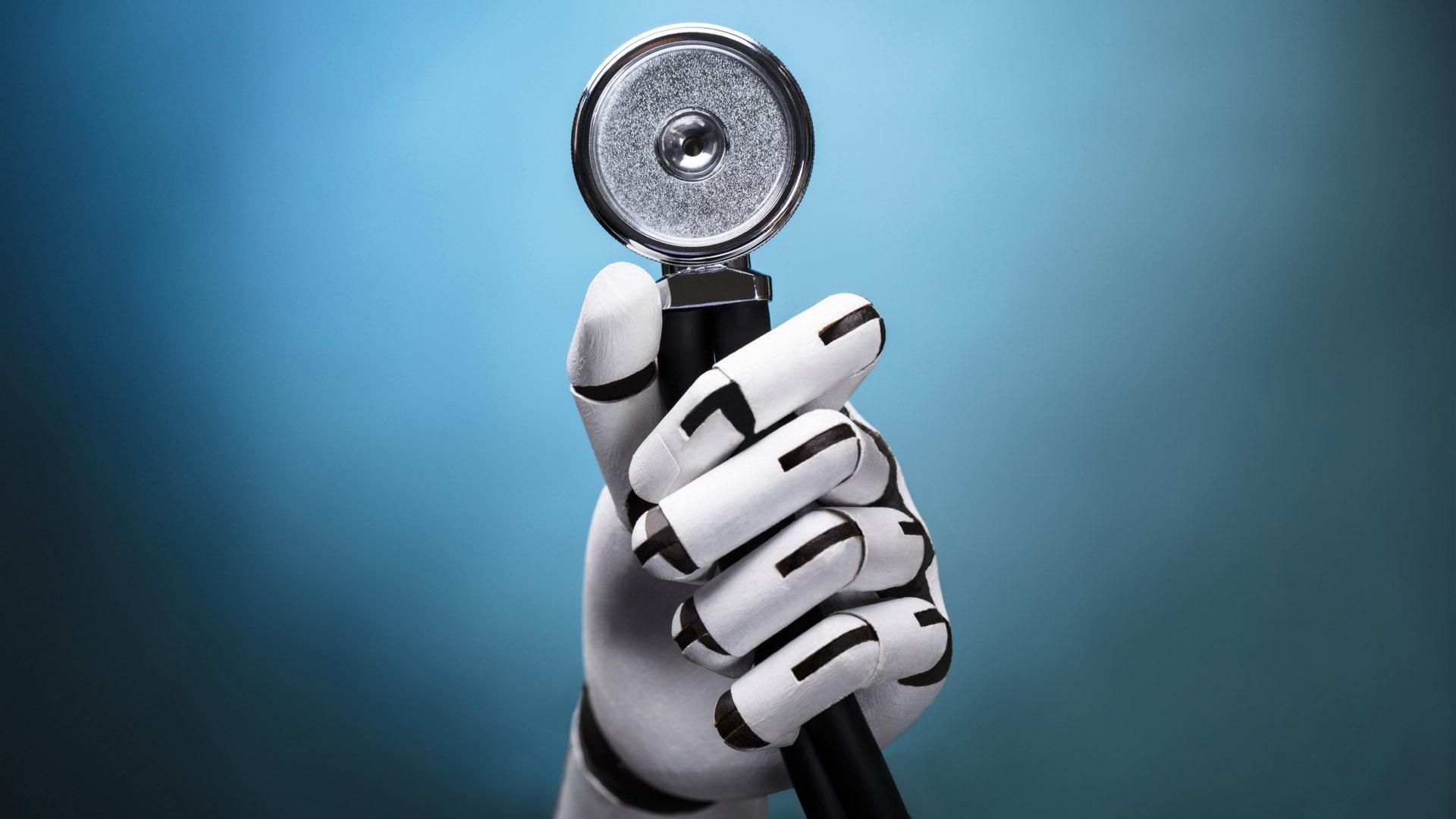 robot hand holding stethoscope