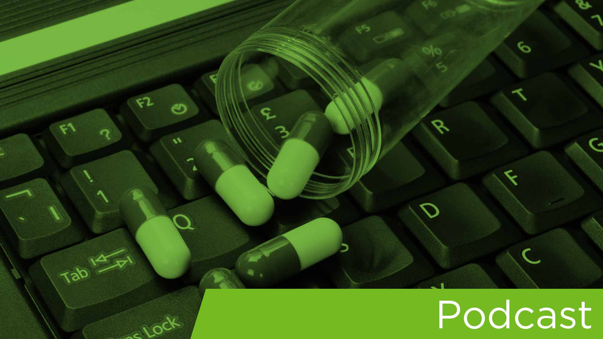 podcast image_pills on keyboard_green overlay