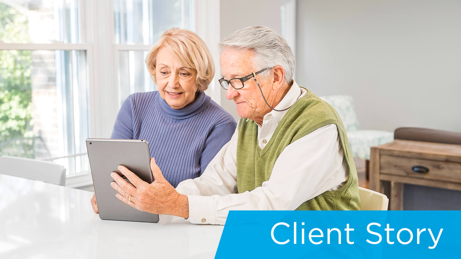 Client-telehealth_elderly couple using tablet for telehealth appointment