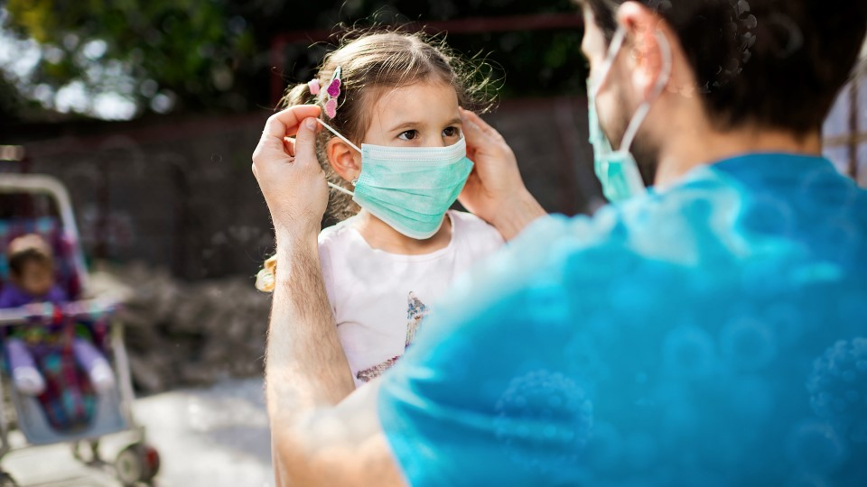 Covid-19 image_dad putting mask on daughter