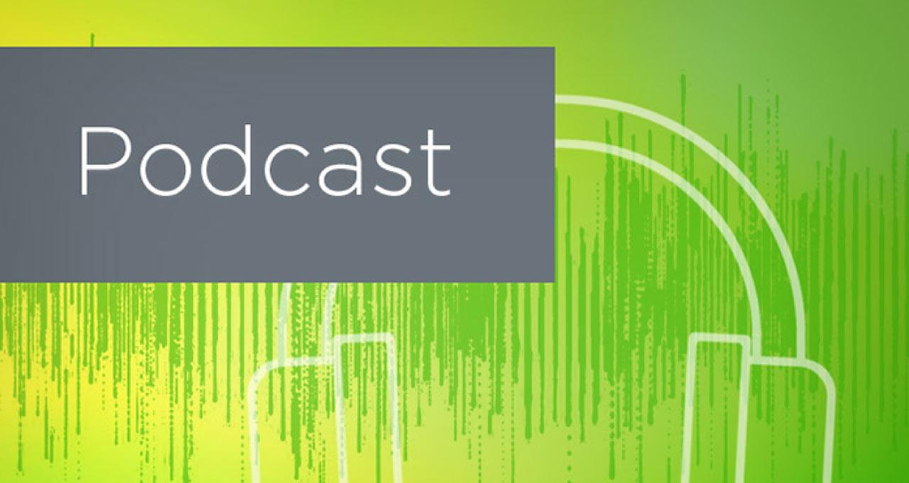 podcast green headphones soundwaves