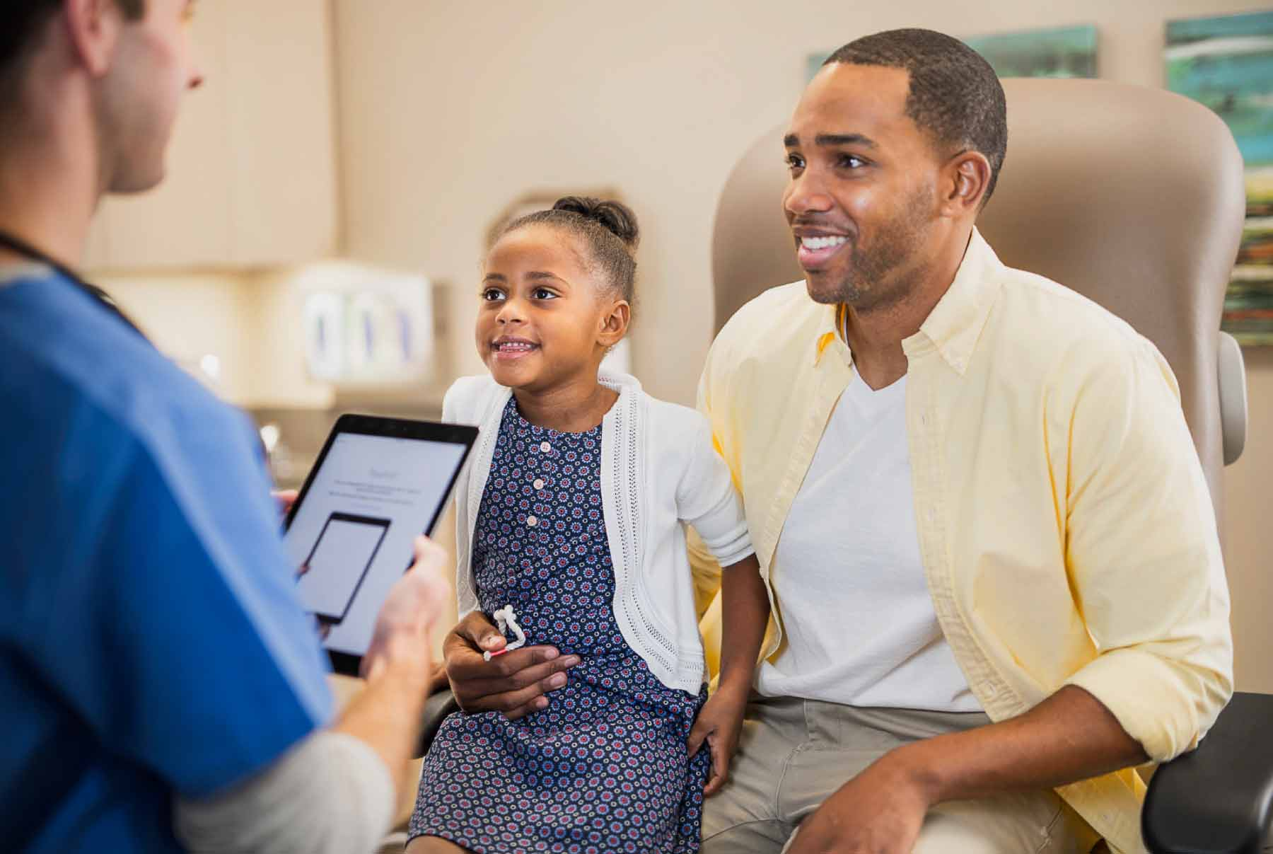 Open and Interoperable_father and daughter at appointment