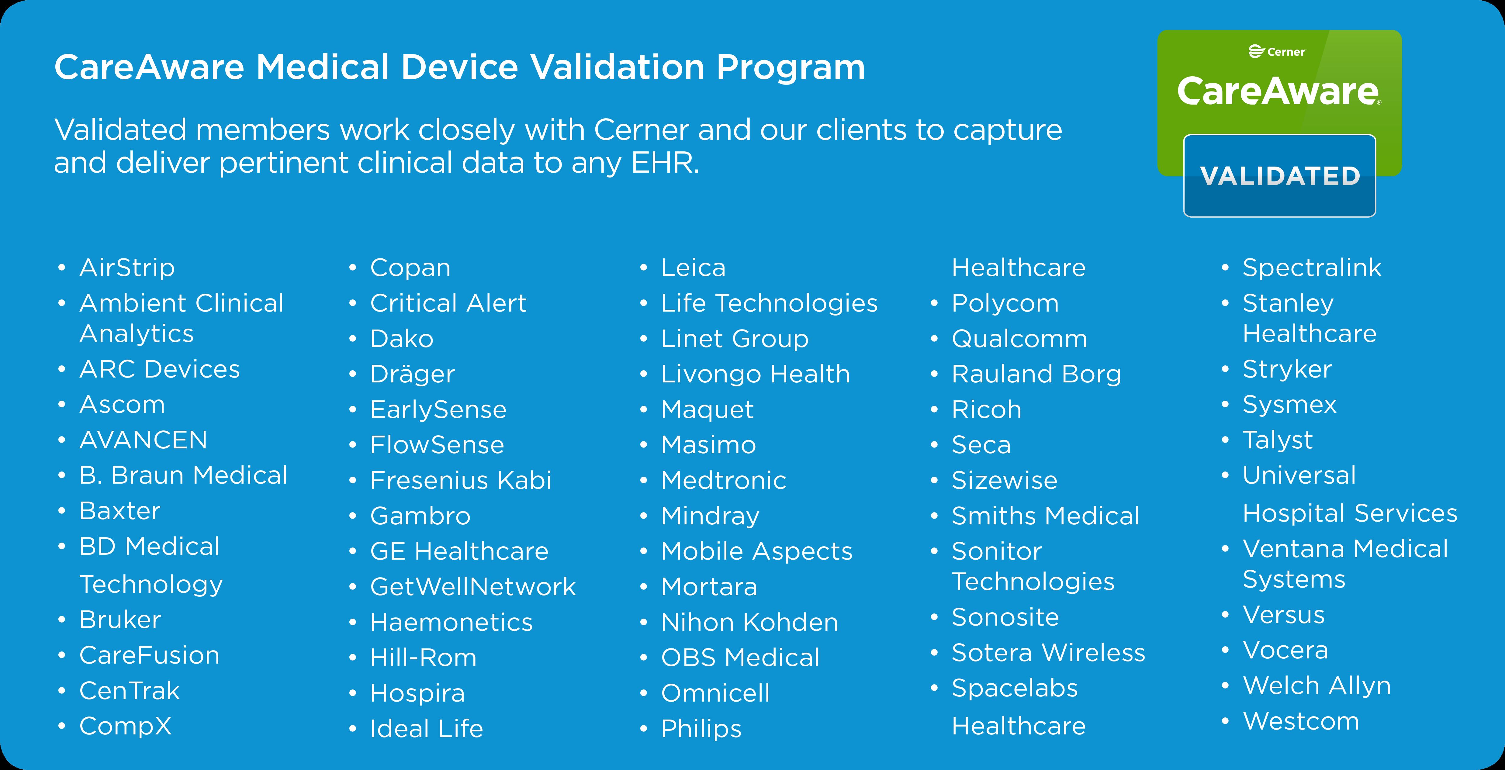 Cerner medical device certification program for a complete list of cerner validated partners and products please call 1 866 221 8877 or visit the careaware device driver list cerner clients only xflitez Images